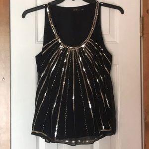 Black & gold sequin Apt 9 Top Size S